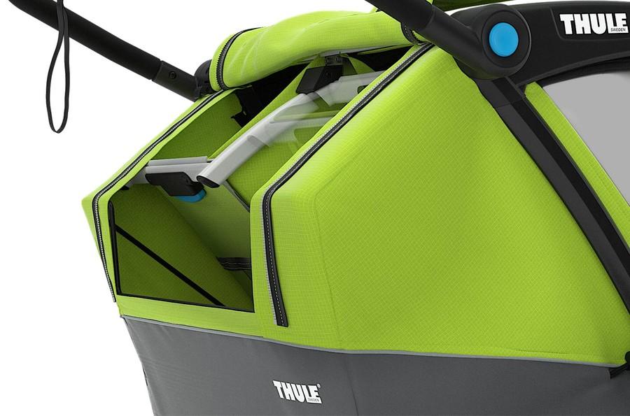 Bagażnik i odchylane siedziska przyczepki rowerowej Thule Cab 2.