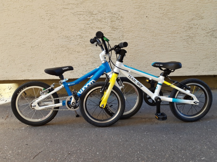 """Porównanie 2 lekkich rowerów na kołach 14"""" - Woom 2 i Frog 40/43."""
